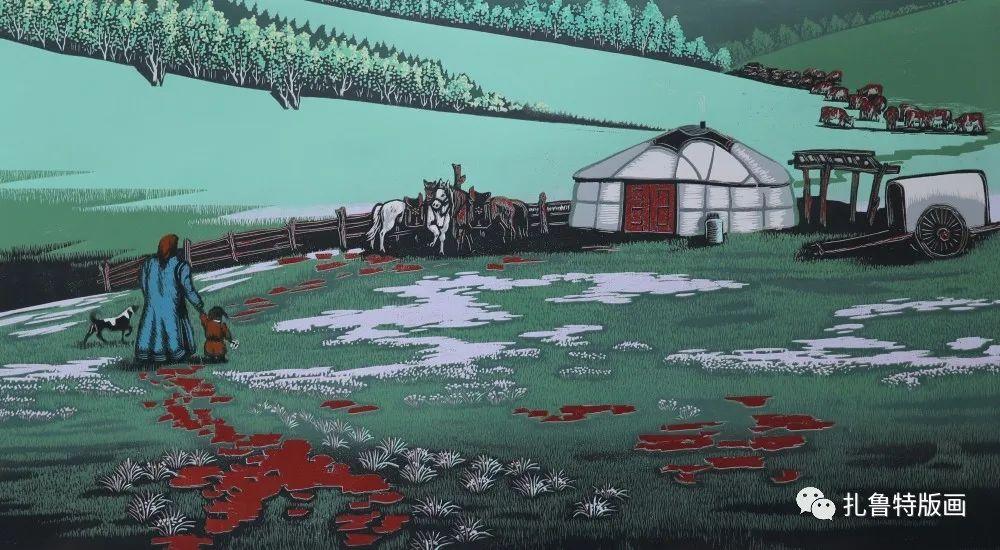 扎鲁特旗牧民版画家照那木拉作品欣赏 第3张