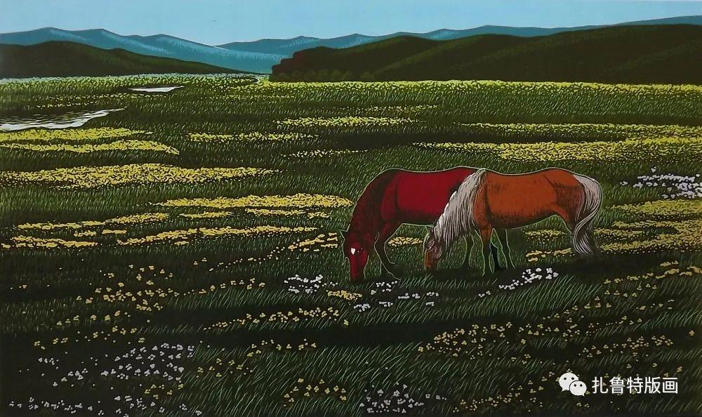 扎鲁特旗牧民版画家照那木拉作品欣赏 第7张