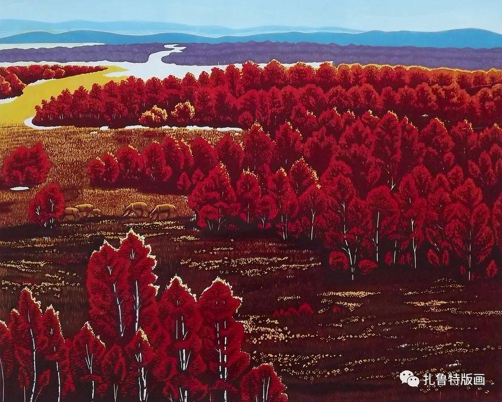 扎鲁特旗牧民版画家照那木拉作品欣赏 第6张