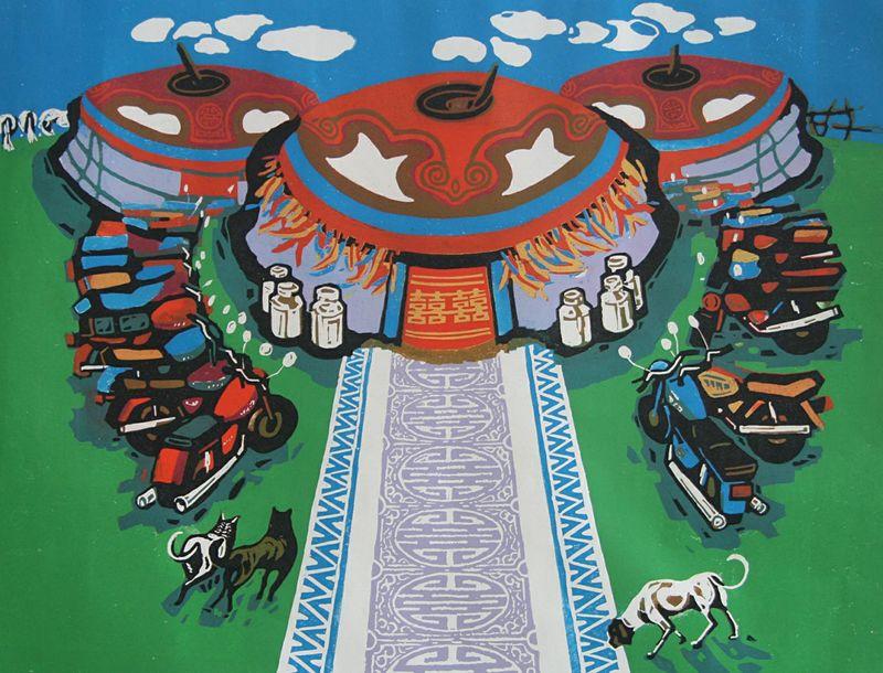 达尔罕草原文化瑰宝——科左中旗版画 第5张 达尔罕草原文化瑰宝——科左中旗版画 蒙古画廊