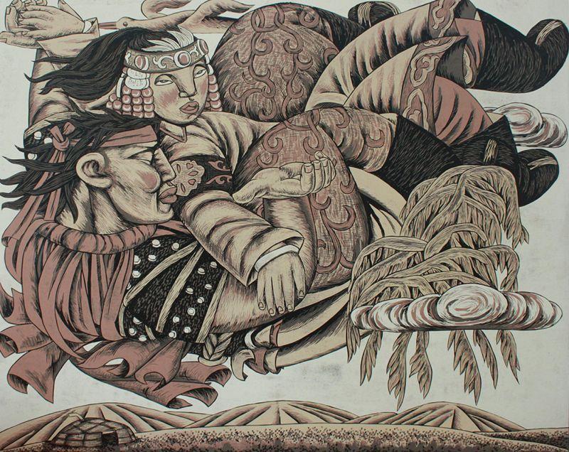 达尔罕草原文化瑰宝——科左中旗版画 第8张 达尔罕草原文化瑰宝——科左中旗版画 蒙古画廊