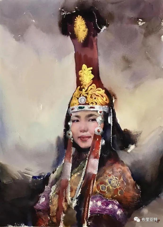 蒙古国少有的水彩画大师孟赫巴特尔作品欣赏 第1张