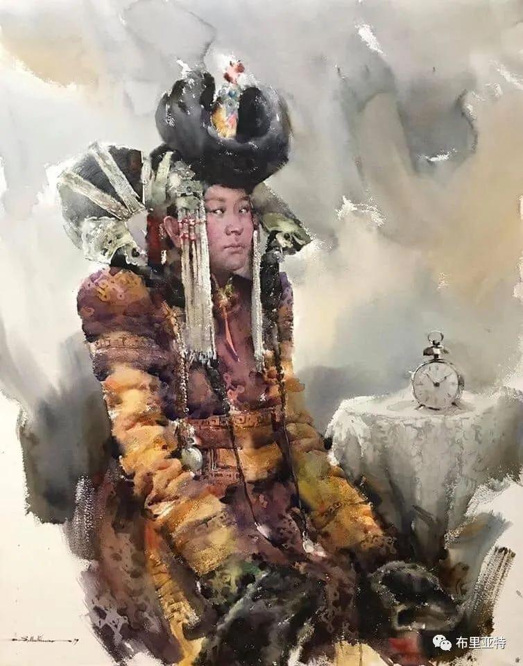 蒙古国少有的水彩画大师孟赫巴特尔作品欣赏 第3张