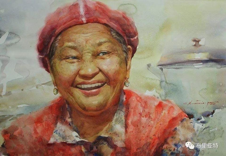 蒙古国少有的水彩画大师孟赫巴特尔作品欣赏 第19张
