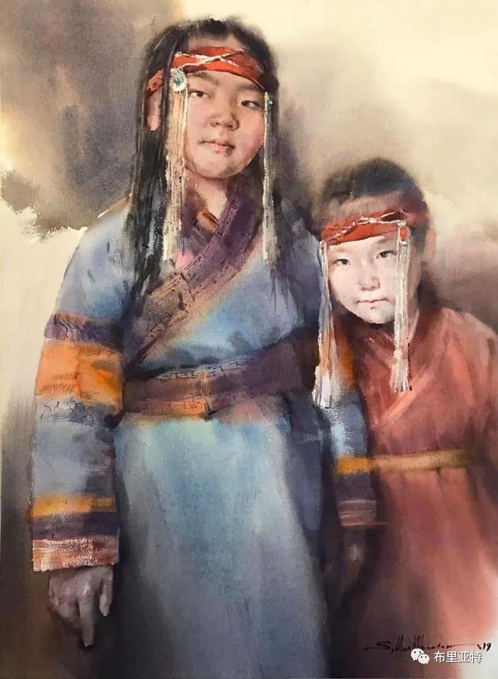 蒙古国少有的水彩画大师孟赫巴特尔作品欣赏 第23张