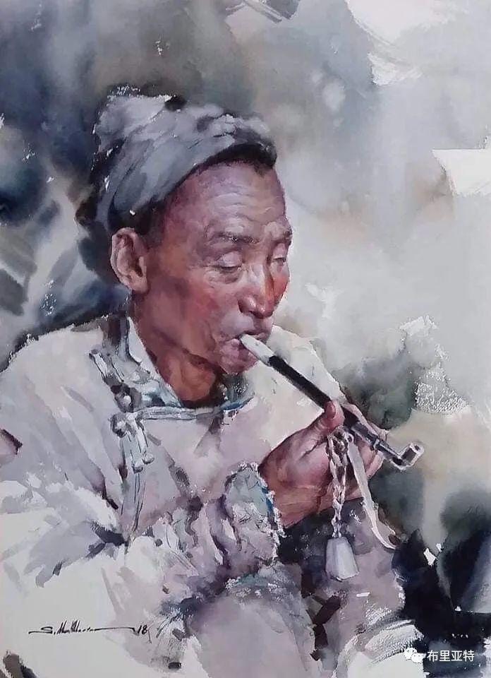 蒙古国少有的水彩画大师孟赫巴特尔作品欣赏 第34张