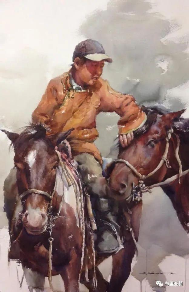 蒙古国少有的水彩画大师孟赫巴特尔作品欣赏 第33张