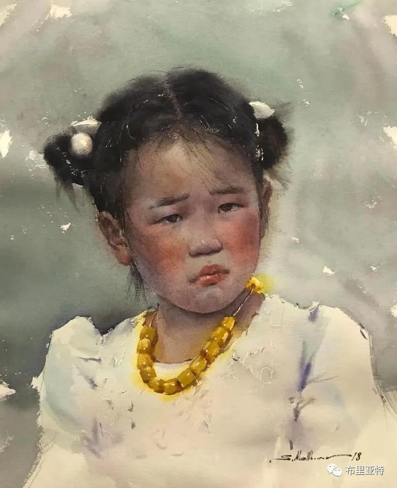 蒙古国少有的水彩画大师孟赫巴特尔作品欣赏 第39张