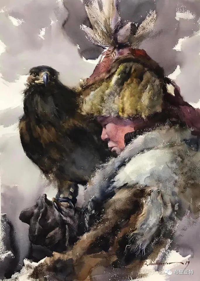 蒙古国少有的水彩画大师孟赫巴特尔作品欣赏 第46张