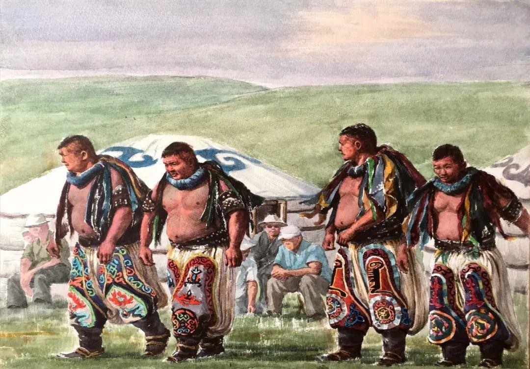 蒙古族搏克手连环画作品 第2张 蒙古族搏克手连环画作品 蒙古画廊