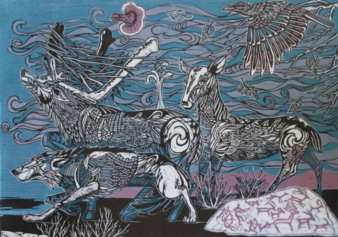 扎力根版画作品欣赏 第4张 扎力根版画作品欣赏 蒙古画廊