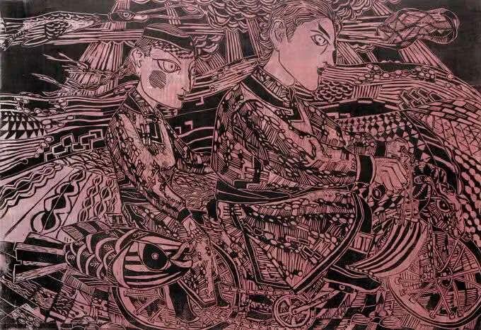 扎力根版画作品欣赏 第8张 扎力根版画作品欣赏 蒙古画廊