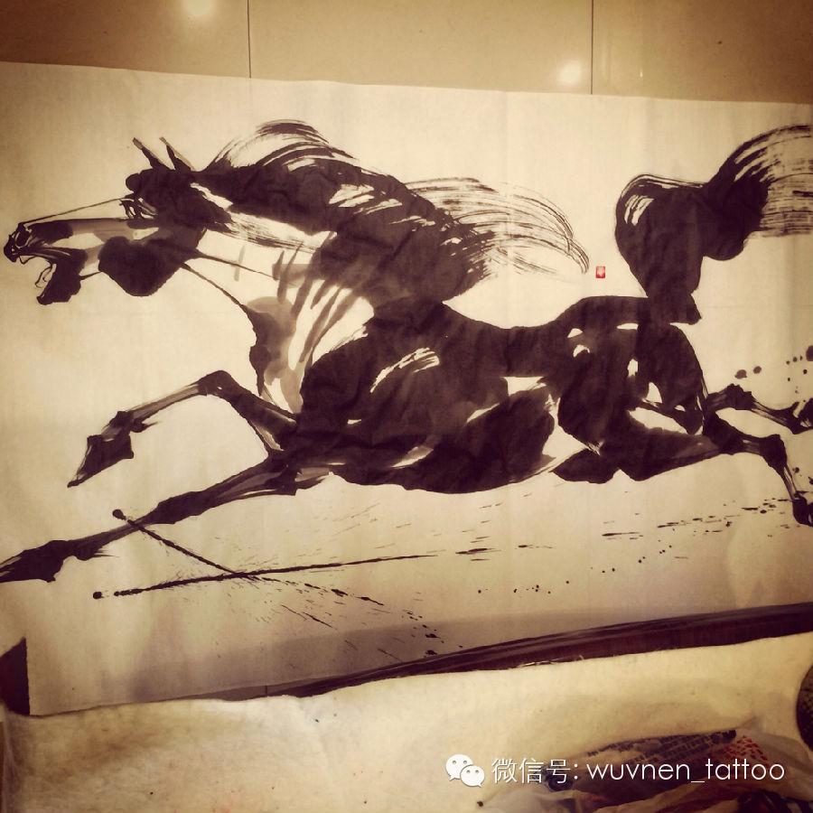 著名蒙古国书法家&画家Sukhbaatar为無南刺青创作并赠送珍贵书画作品 第6张