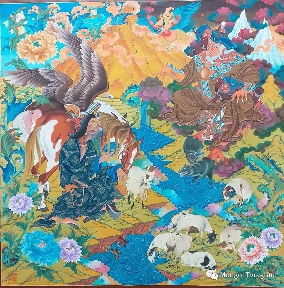 蒙古画家-- 拉哈仁亲 ᠤᠷᠠᠨ ᠵᠢᠷᠤᠭ-ᡀᠠᠭᠸᠠᠷᠢᠨᠴᠢᠨ 第14张