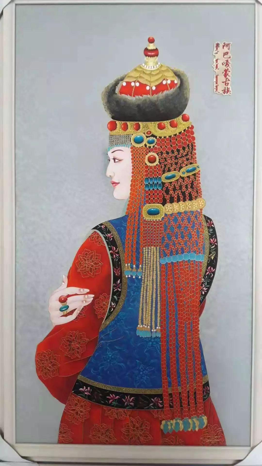 【阿启泰】蒙古族部落妇女系列(金丝彩岩手工艺作品)
