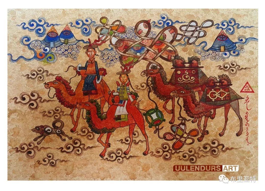 欣赏艺术家桑嘉扎木苏游牧蒙古主题绘画作品